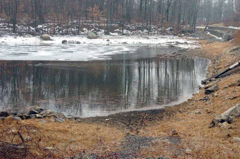 File photo of Greenwich reservoir during previous drought. Photo: Helen Neafsey / GT