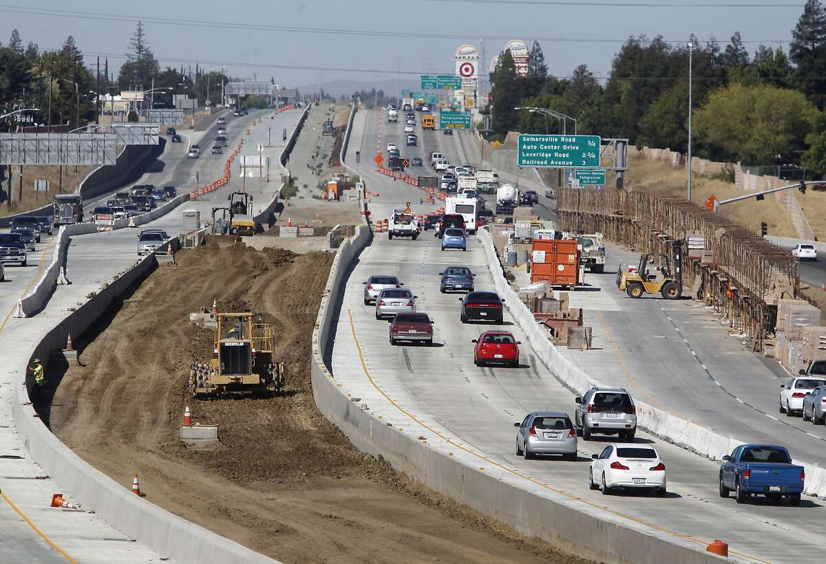 Commuters travel through the freeway widening project and eBART extension on Highway 4 in Antioch, Calif. on Thursday, Sept. 24, 2015.