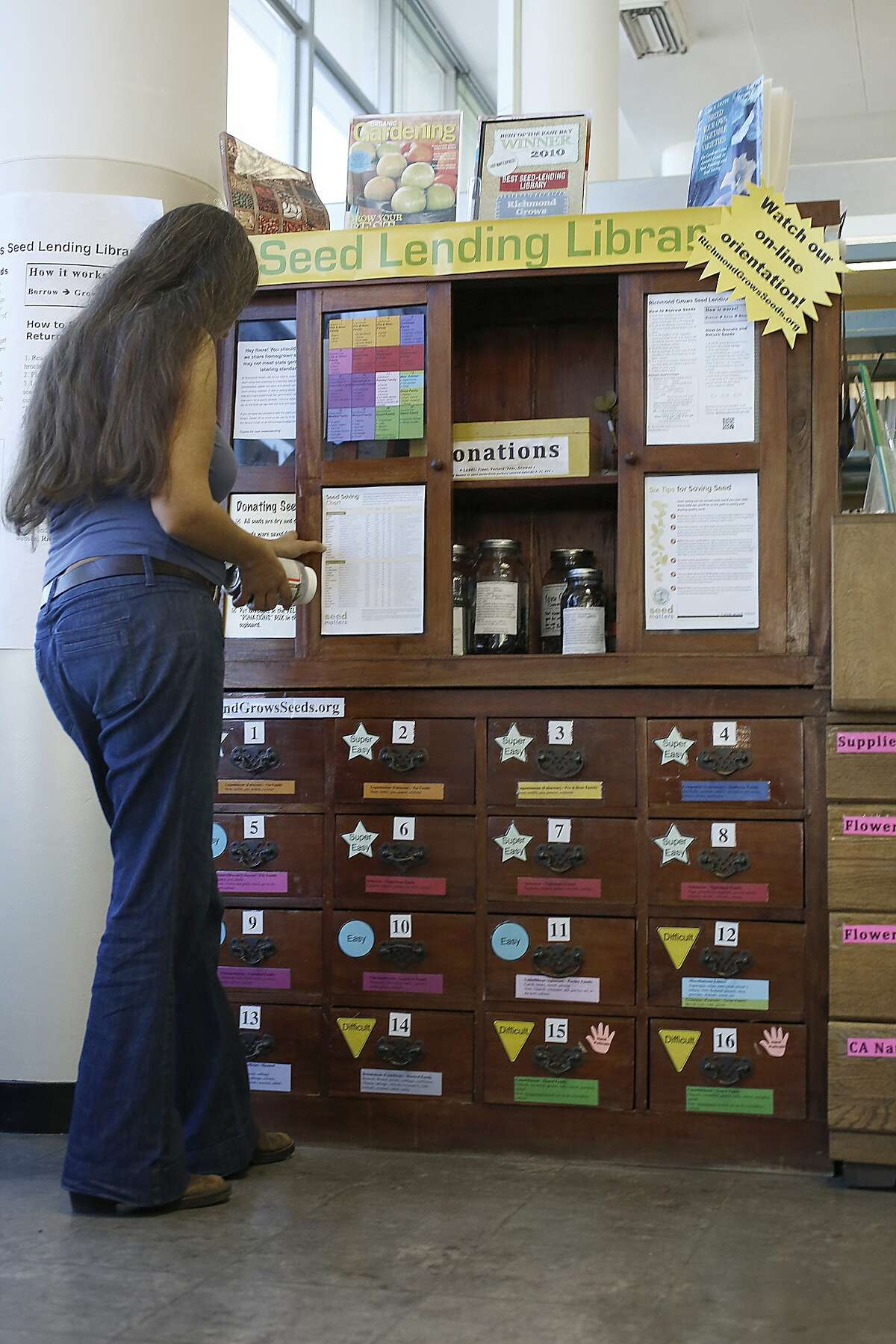 Seed pollinator Rebecca Newburn works on her collection at the Richmond Public library main branch in Richmond, Calif., on Wednesday, September 23, 2015.