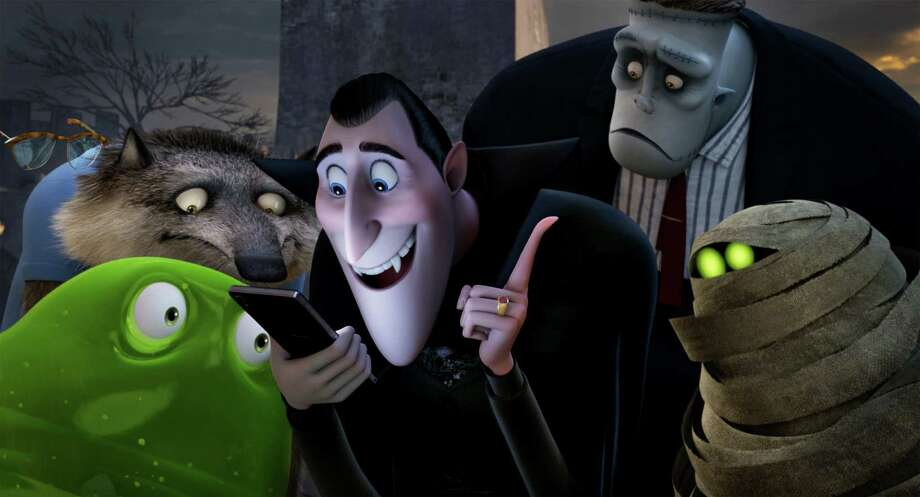 "In this image released by Sony Pictures Animation, Blobby, clockwise from foreground left, Griffin the Invisible Man, voiced by Davis Spade, Wayne, voiced by Steve Buscemi, Dracula, voiced by Adam Sandler, Frank, voiced by Kevin James and Murray, voiced by Keegan-Micheal Key, appear in a scene from in Columbia Pictures and Sony Pictures Animation's ""Hotel Transylvania 2."" (Sony Pictures Animation via AP) ORG XMIT: NYET112 Photo: Sony Pictures Animation / Sony Pictures Animation"