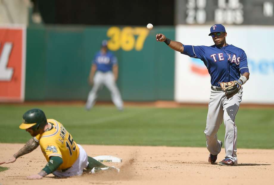 With Brett Lawrie out at second, Elvis Andrus relays the ball to first to complete one of the Rangers' four double plays. Photo: Thearon W. Henderson, Getty Images
