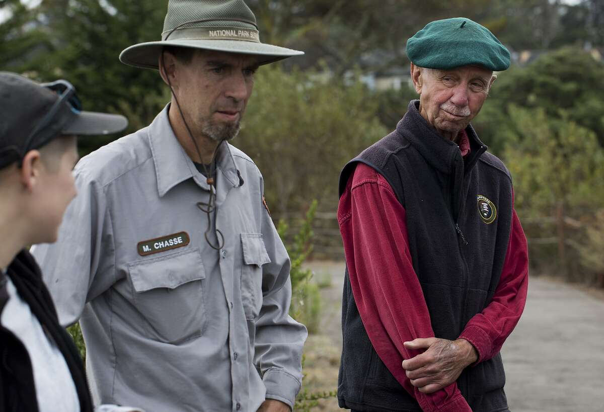 Charlie Starbuck listens to instructions for conservation volunteering with the Presidio Park Stewards on Wednesday, September 2, 2015 in San Francisco, Calif.