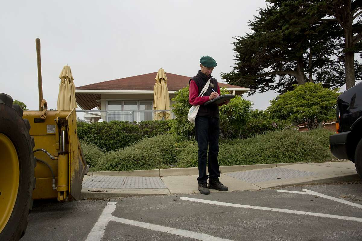 Charlie Starbuck signs in as a volunteer with the Presidio Park Stewards Wednesday, September 2, 2015 in San Francisco, Calif. Starbuck has been volunteering in the Presidio three times a week for the past 13 years.