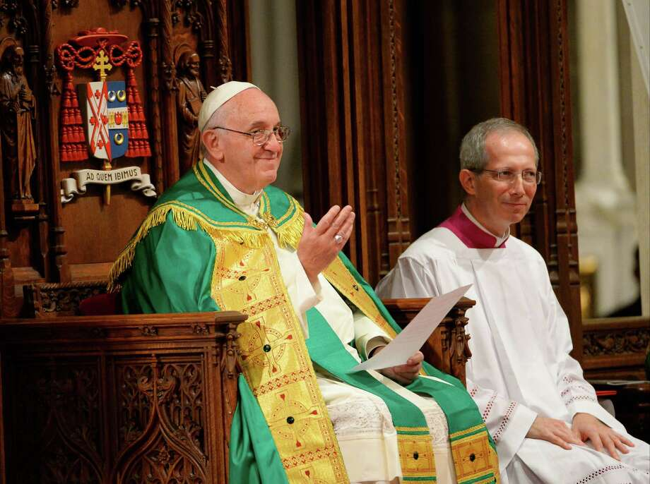 Pope Francis, left, leads an evening prayer service at St. Patrick's Cathedral, Thursday, Sept. 24, 2015, in New York. (Robert Deutsch/USA Today via AP, Pool) Photo: Robert Deutsch, AP / Pool USA Today