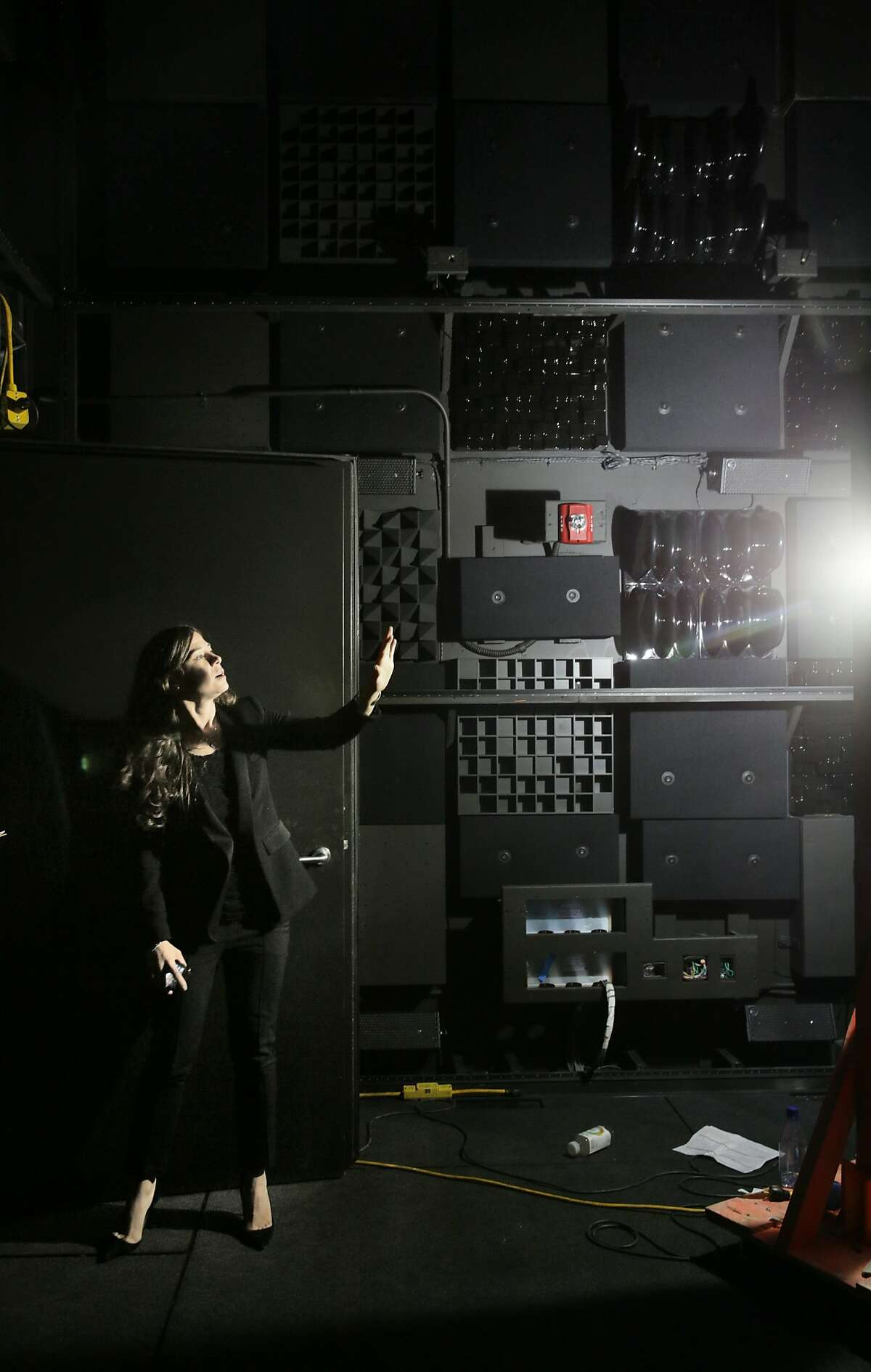 Poppy Crum, head scientist, stands in the Sensory Immersion lab, at the at the new headquarters for Dolby Laboratories on Thursday, September 24, 2015 in San Francisco, Calif.