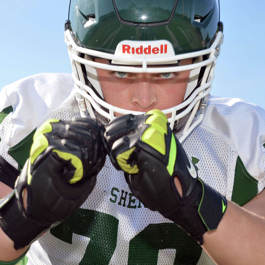 Shen senior tackle Luke Mysliwy during practice at teh school Thursday Sept. 24, 2015 in Clifton Park, NY.  (John Carl D'Annibale / Times Union) Photo: John Carl D'Annibale / 10033494A