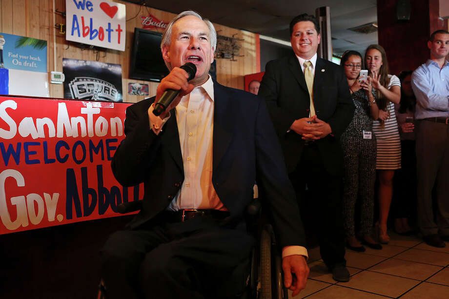 "Gov. Greg Abbott addresses supporters as he campaigns in San Antonio during a ""grassroots tour"" stop at Ray's Pizzaria on Blanco Road. Photo: Jerry Lara /San Antonio Express-News / © 2015 San Antonio Express-News"