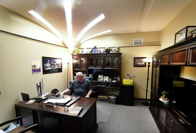 Coach Greg Gattuso sits in his renovated office Thursday morning Sept. 24, 2015 at the University at Albany in Albany, N.Y.     (Skip Dickstein/Times Union) Photo: SKIP DICKSTEIN / 10033489A