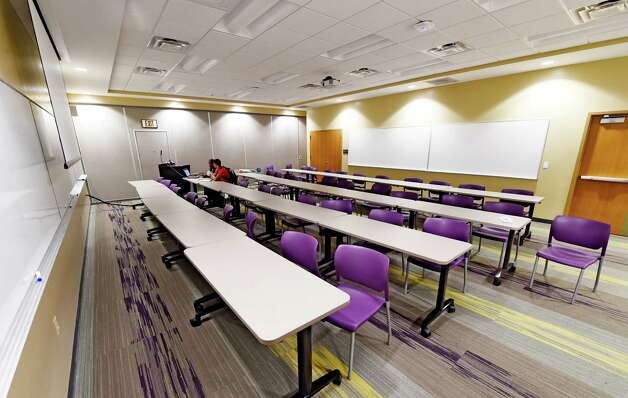 One of the new conference rooms in the renovated football offices Thursday morning Sept. 24, 2015 at the University at Albany in Albany, N.Y.     (Skip Dickstein/Times Union) Photo: SKIP DICKSTEIN / 10033489A