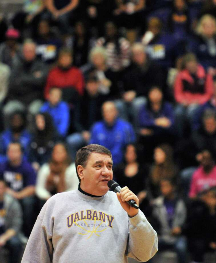 UAlbany president George M. Philip welcomes a homecoming crowd to Saturday's game at SEFCU Arena in Albany Feb. 4, 2012.   (John Carl D'Annibale / Times Union) Photo: John Carl D'Annibale / 00016285A