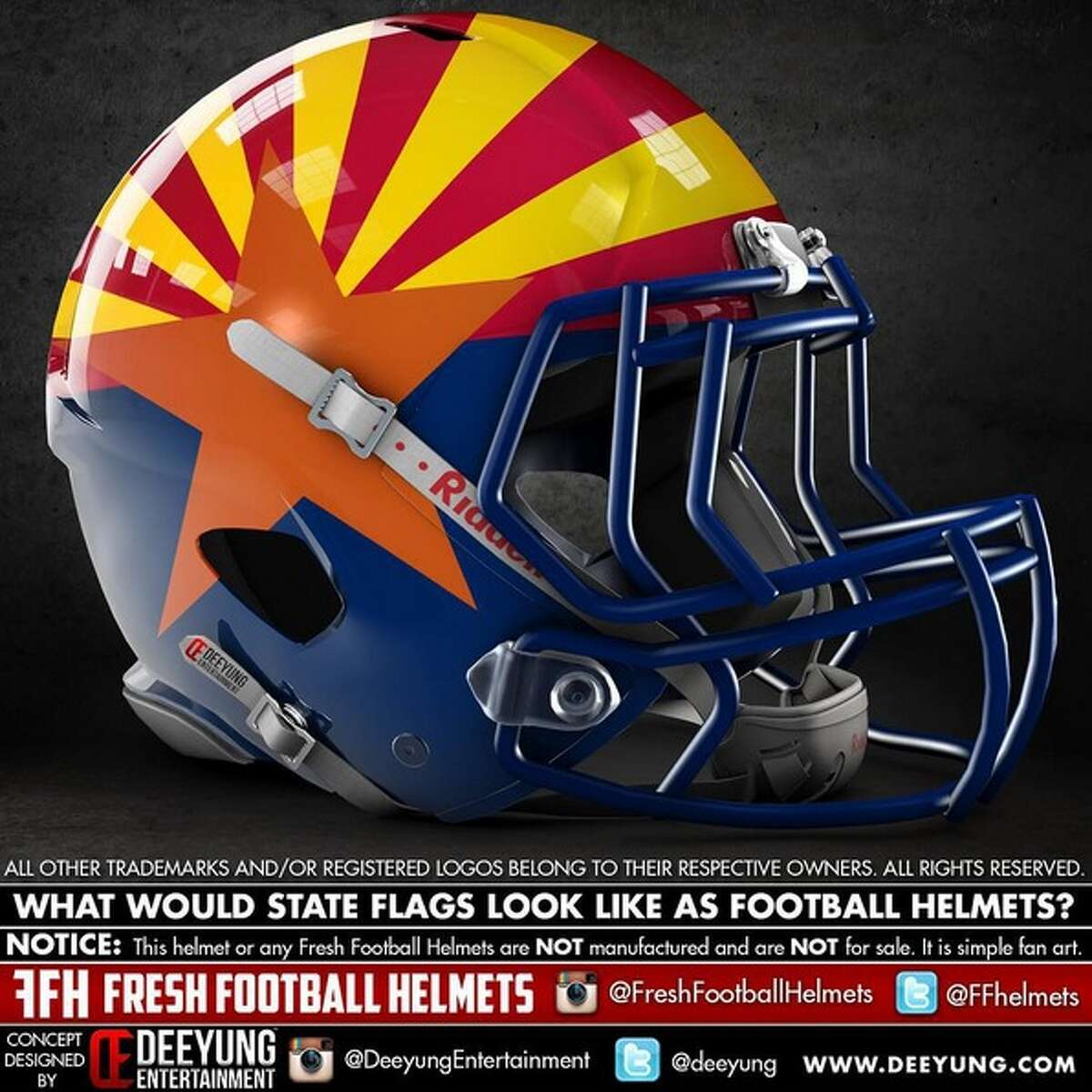 Arizona state flag concept football helmet designed by graphic artist Dylan Young of Deeyung Entertainment.