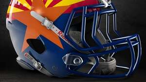 Arizona state flag concept football helmet   designed by graphic artist Dylan Young of   Deeyung Entertainment  .