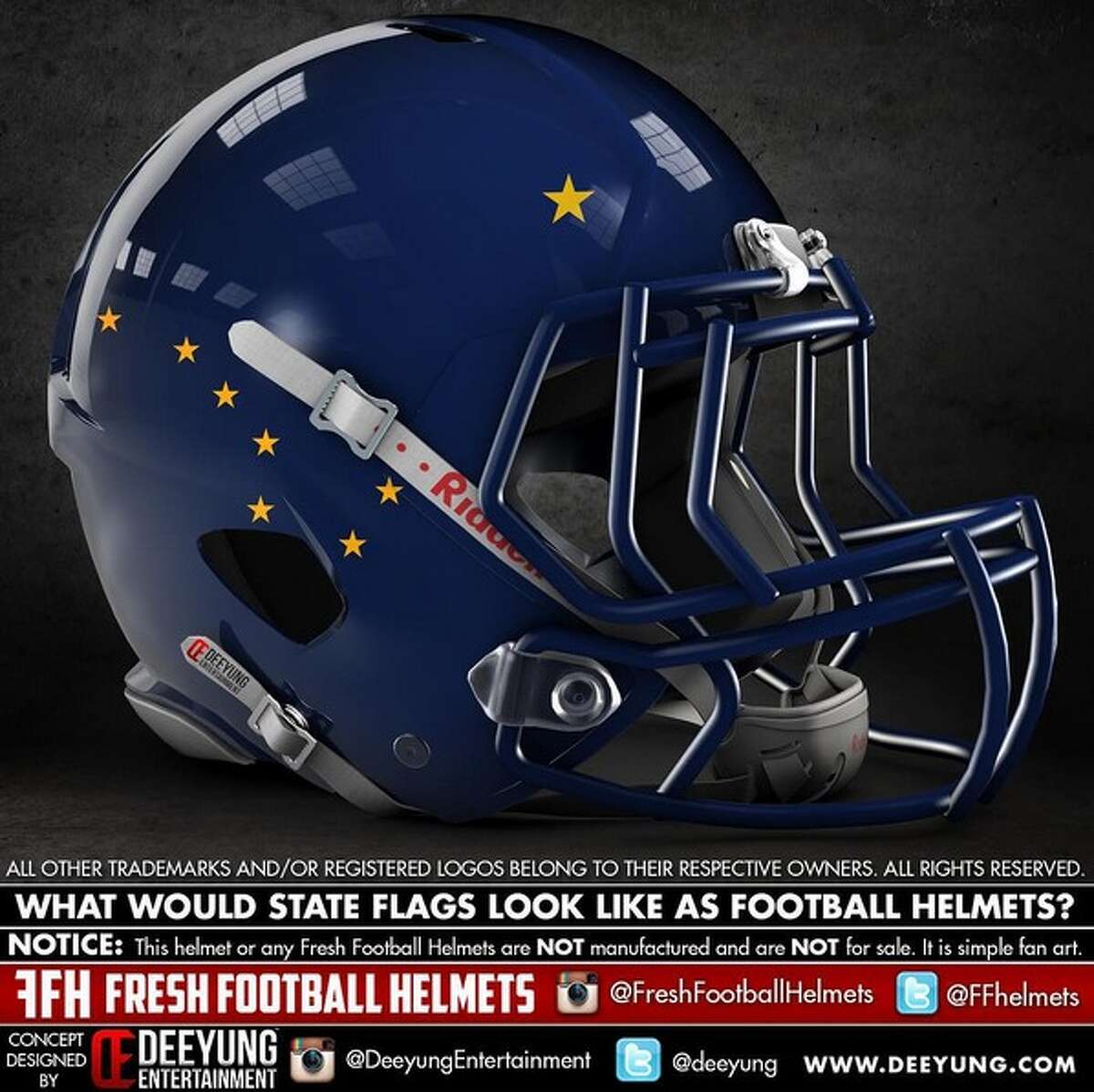 Alaska state flag concept football helmet designed by graphic artist Dylan Young of Deeyung Entertainment.