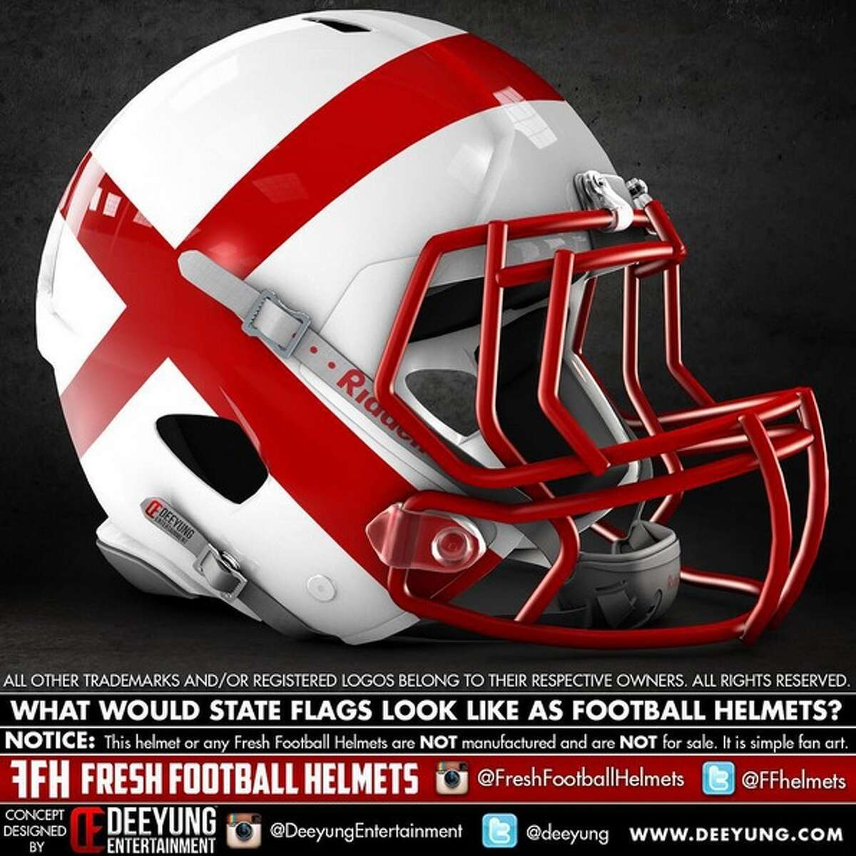 Alabama state flag concept football helmet designed by graphic artist Dylan Young of Deeyung Entertainment.