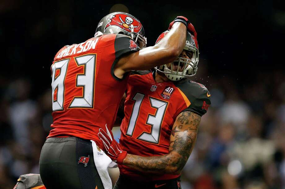 Vincent Jackson, left, and Mike Evans will look for Buccaneers rookie quarterback Jameis Winston to throw passes in their direction against the Texans. Photo: Wesley Hitt, Stringer / 2015 Getty Images