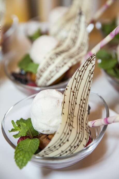 Gala guests' desserts were decorated by music notes. Photo: Laura Morton, Special To The Chronicle
