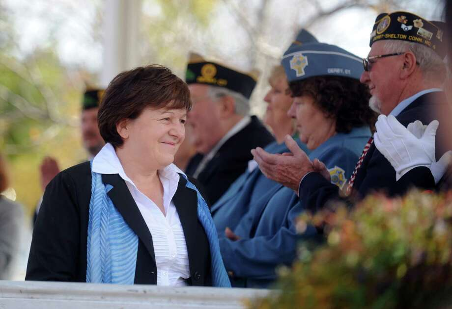 Derby Mayor Anita Dugatto attends a ceremony Tuesday, Nov. 11, 2014 on the Derby green to mark Veterans Day. Photo: Autumn Driscoll / Autumn Driscoll / Connecticut Post