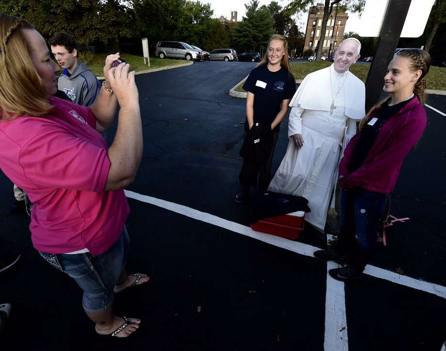 Local Catholic school students get ready to see Pope Francis in New York City. Fifty students from around the Roman Catholic Diocese of Albany are taking a bus to New York to see the pope lead Mass at Madison Square Garden. (Skip Dickstein / Times Union)