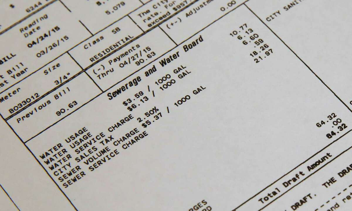 ADVANCE FOR SATURDAY, SEPT. 26, AND THEREAFTER - This Sunday, Jan. 20, 2015, photo, shows a detail of a water bill showing usage and rates in New Orleans. With all the questions surrounding the nation?'s water supplies and systems, one thing seems certain: Customers will be paying more to keep their taps flowing. (AP Photo/Jonathan Bachman) ORG XMIT: NY361