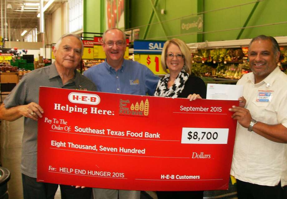 A check in the amount of $8,700 was presented by H-E-B to the Southeast Texas Food Bank on Wednesday. The donated funds were generated during a tear-pad campaign that ran May 6-July 19.