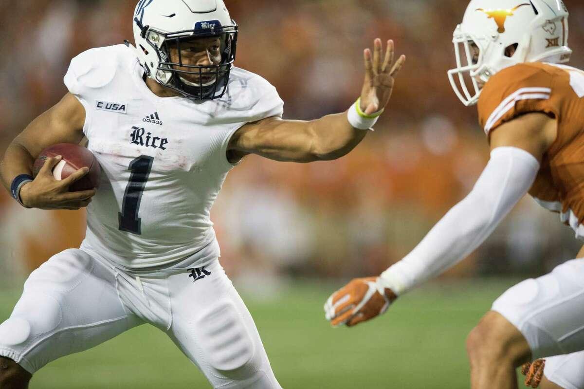Rice running back Darik Dillard breaks free against the University of Texas during the second quarter on September 12, 2015, at Darrell K Royal-Texas Memorial Stadium in Austin.