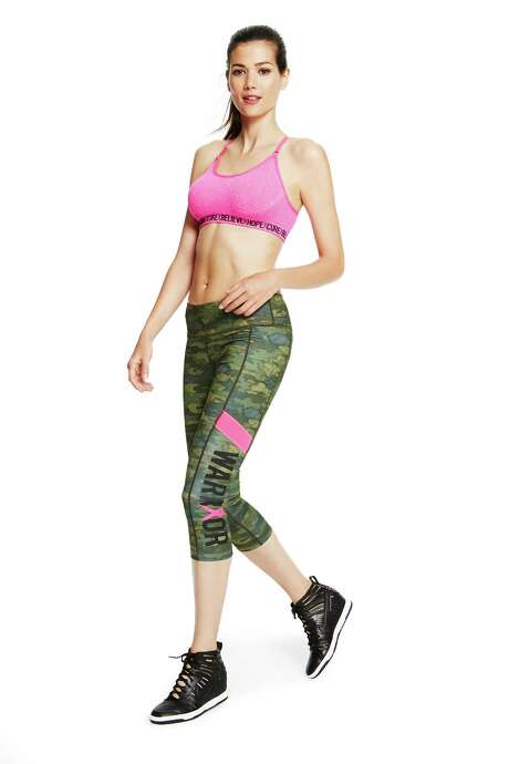 Macy's Ideology 'pink' activewear includes this sports bra, $19.98-$24.98, and crop leggings, $49.50-$54.50, with 10 percent of the purchase price going to the Breast Cancer Research Foundation. Photo: Macy's