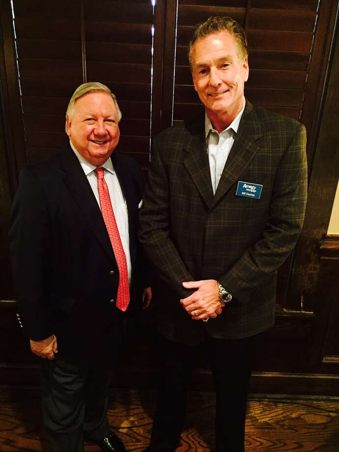 Bob Hale, left, and Bill Dawley attend the HMBA monthly meeting.