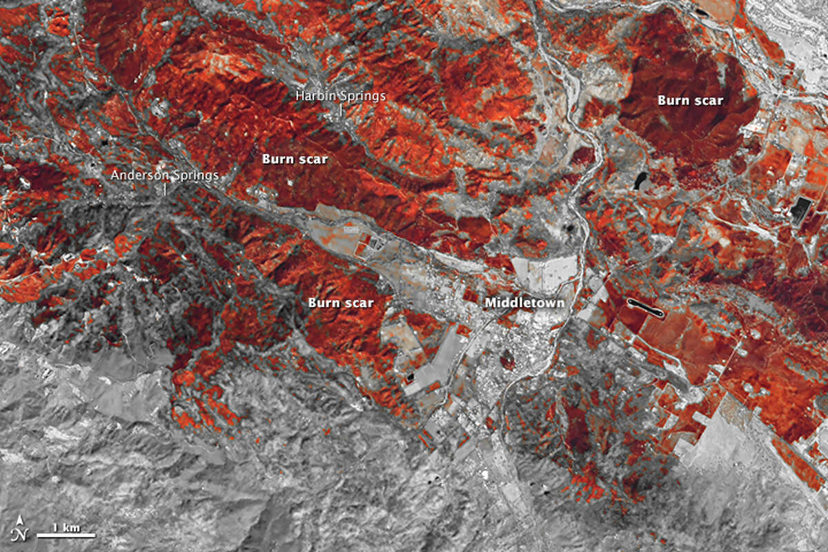 Natural disasters from space The Operational Land Imager (OLI) on Landsat 8 captured false-color view of the charred landscape following California's Valley Fire on September 20, 2015. Source: Earth Observatory