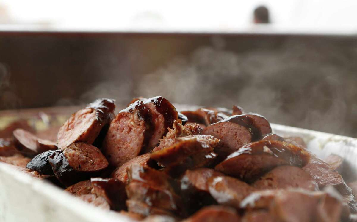 Barbecue sausage is seen at the Houston Livestock Show and Rodeo Friday, Feb. 27, 2015, in Houston. ( Jon Shapley / Houston Chronicle )