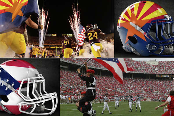 Arizona and Ohio state flag concept football helmets designed by graphic artist Dylan Young of   Deeyung Entertainment  .