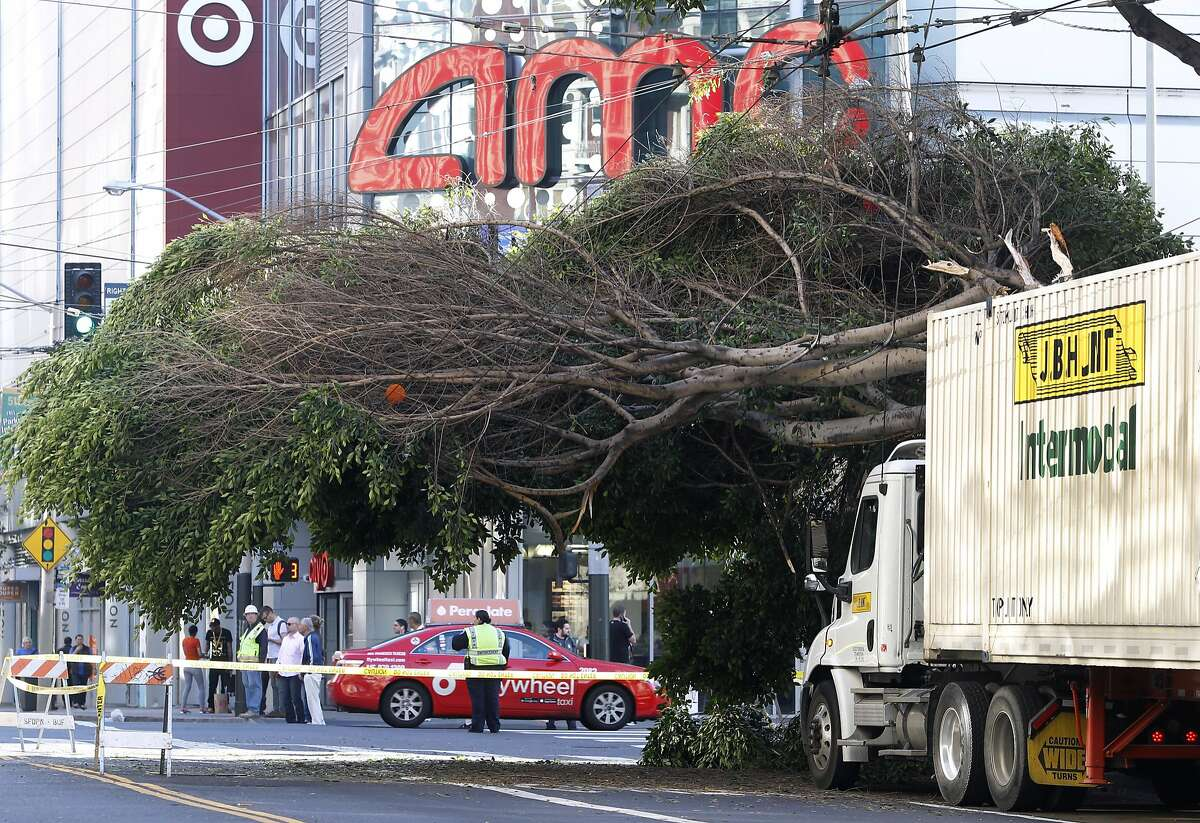 Mission Street is closed to traffic between Fourth and Fifth streets after a big rig clipped a tree which then toppled onto overhead Muni power lines at Fourth Street in San Francisco, Calif. on Friday, Sept. 25, 2015.