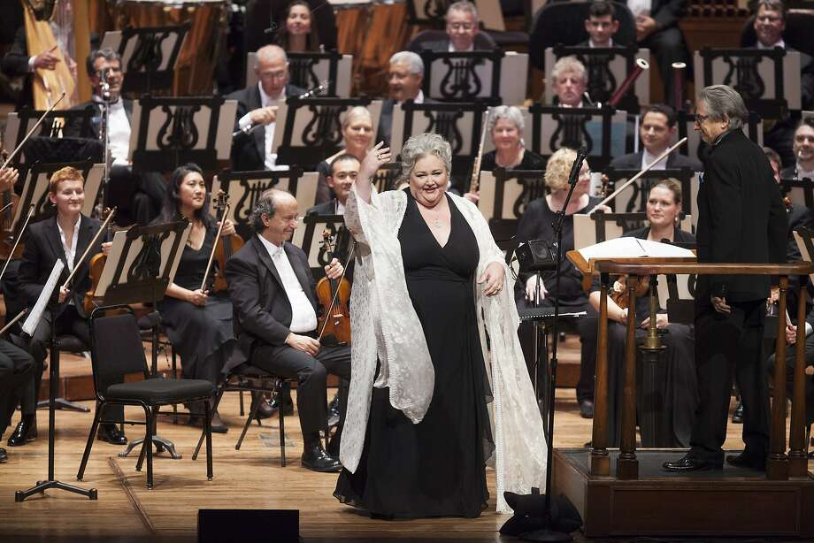 Opera singer and recitalist Stephanie Blythe greets the audience from stage at the beginning of her surprise performance during the San Francisco Symphony's opening night at the Louise M. Davies Symphony Hall in San Francisco on Thursday, Sept. 24, 2015. Photo: Alex Washburn, Special To The Chronicle