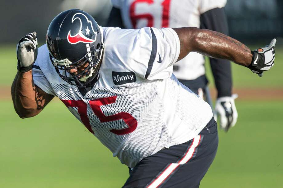 Houston Texans nose tackle Vince Wilfork runs a drill during Texans training camp at the Methodist Training Center Monday, Aug. 17, 2015, in Houston.  ( Brett Coomer / Houston Chronicle ) Photo: Brett Coomer, Staff / © 2015 Houston Chronicle