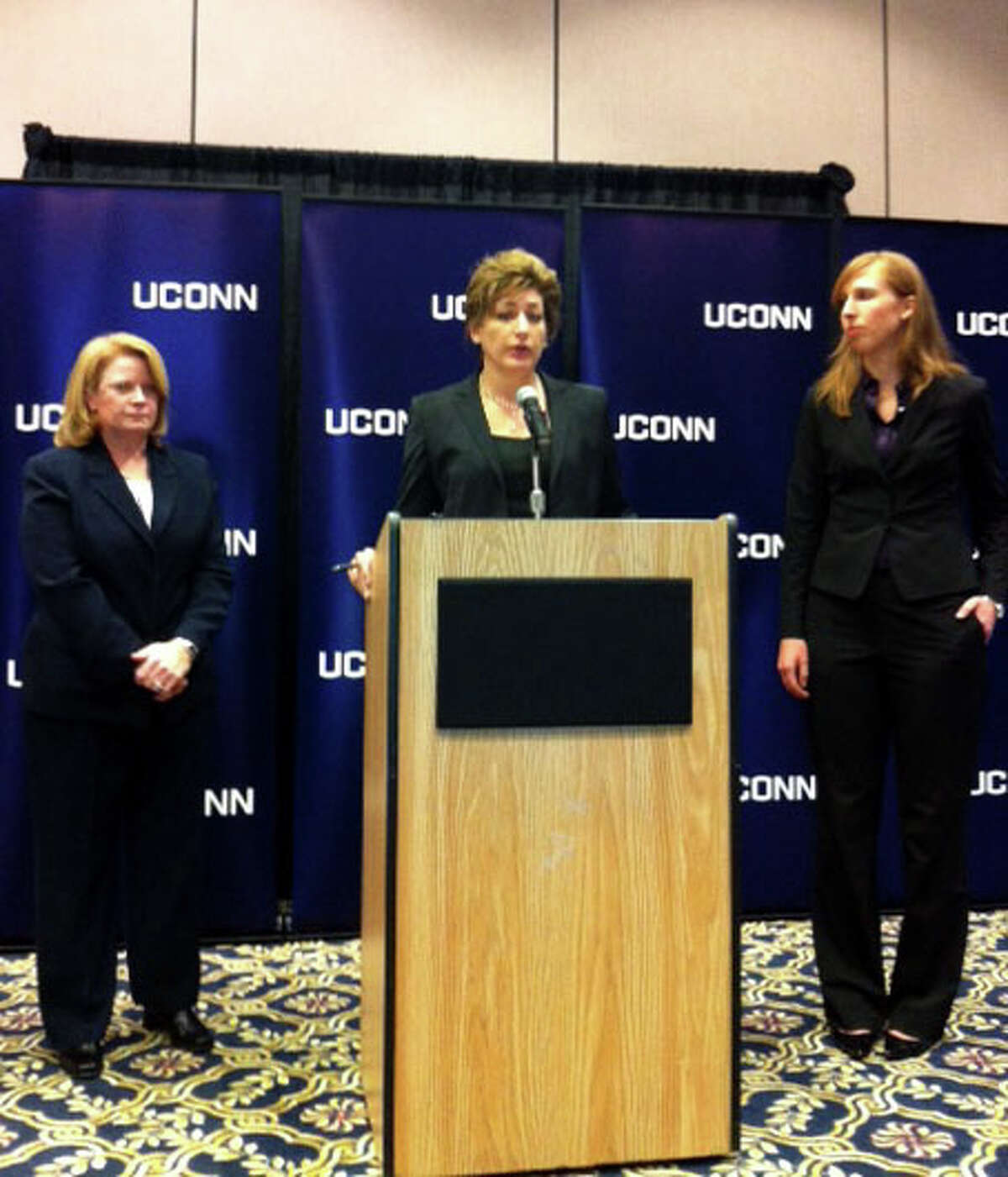 University of Connecticut President Susan Herbst said that she was stunned by charges that the university is indifferent to sexual assaults on campus and insisted they have no basis in fact .From left UConn police chief Barbara O'Connor, president Susan Herbst and title IX officer Elizabeth Conklin at a press conference in Storrs, Conn. on Wednesday, Oct. 23, 2013.