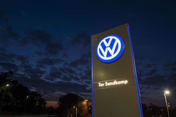A logo of German car manufacturing giant Volkswagen is seen outside their headquarters in Wolfsburg on September 25, 2015. AFP PHOTO / JOHN MACDOUGALLJOHN MACDOUGALL/AFP/Getty Images