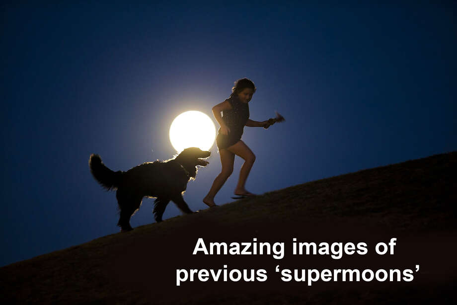 A girl plays with a dog as a perigee moon, also known as a supermoon, rises in Madrid, Sunday, Aug. 10, 2014. The phenomenon, which scientists call a perigee moon, occurs when the moon is near the horizon and appears larger and brighter than other full moons. (AP Photo/Andres Kudacki) Photo: Andres Kudacki, Associated Press