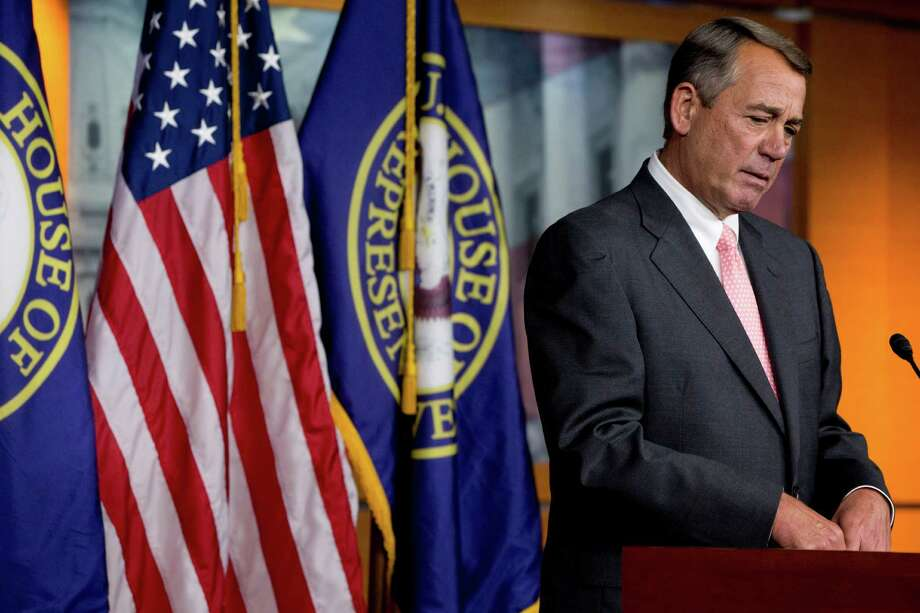 House Speaker John Boehner of Ohio speaks during a news conference on Capitol Hill in Washington, Friday, Sept. 25, 2015. In a stunning move, Boehner informed fellow Republicans on Friday that he would resign from Congress at the end of October, stepping aside in the face of hardline conservative opposition that threatened an institutional crisis. Photo: Jacquelyn Martin, AP / AP