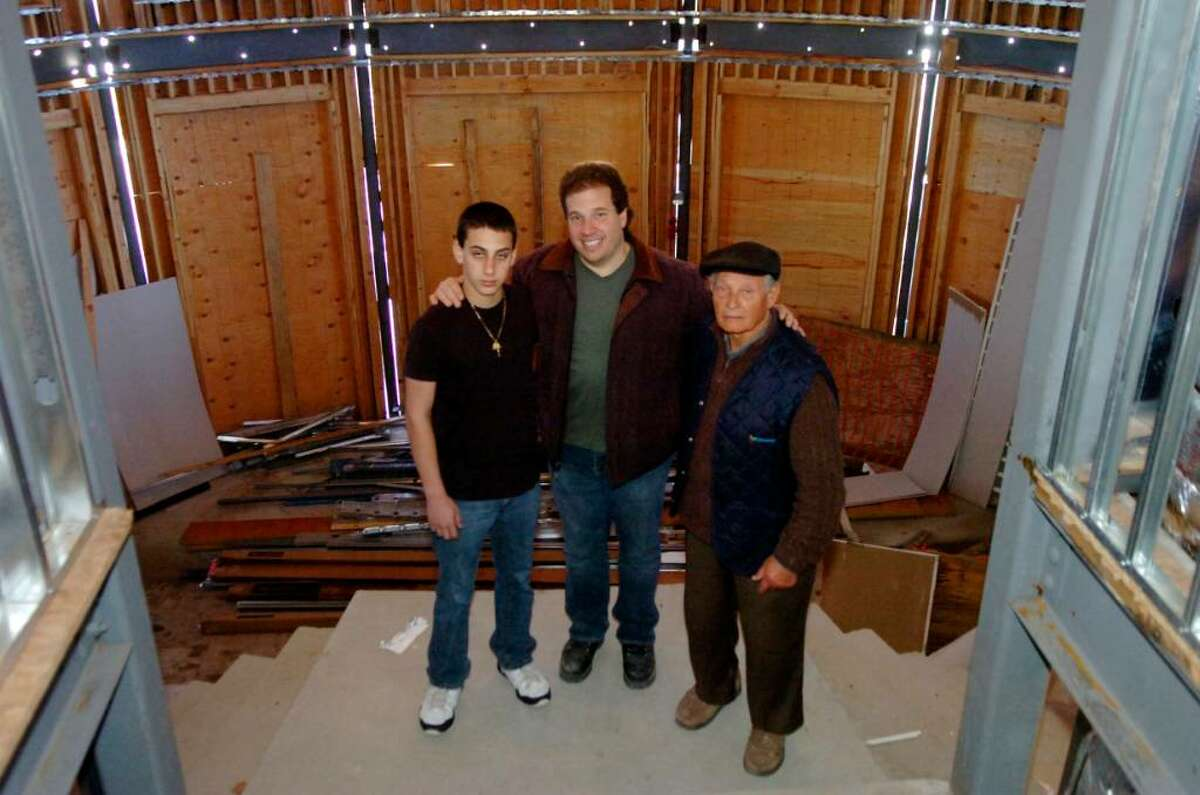 Luca, 13, Daniel, his father and Luca Gabriele, his grandfather, owners of Luca's Steakhouse, which is being renovated, in Greenwich, on Wednesday, March 24, 2010.
