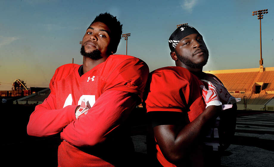 Lamar University linebackers Shawn Jones (left) and Ronnie Jones are unrelated, but they play as though cut from the same cloth on the field. The pair, who play the same position, have been key to the success of the Cardinals' defense this season. Photo taken Wednesday, September 23, 2015 Photo by Kim Brent / Beaumont Enterprise