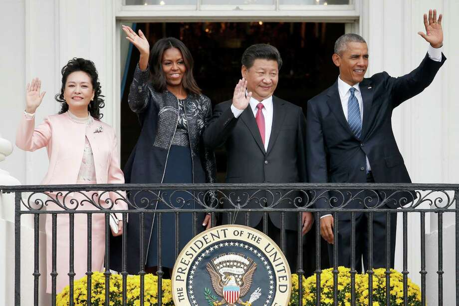President Barack Obama, Chinese President Xi Jinping, first lady Michelle Obama and Chinese first lady Madame Peng Liyuan after the ceremony on Friday at the White House. Photo: Evan Vucci, STF / AP