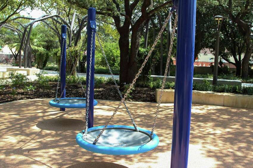 Yanaguana Garden has numerous opportunities to people of all ages to jump, climb, slide and engage in physical activity.