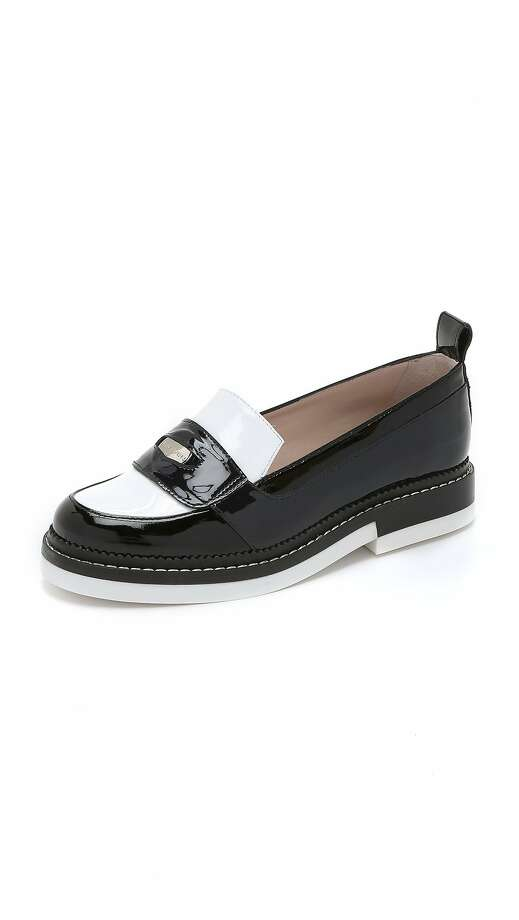 Color blocking is key to Parisian brand Carven's chunky, tricolor patent-leather take on the school-day staple — from the logo-embossed coin in the penny holder to the stacked contrasting rubber sole. Carven Patent Leather Loafers, $760. www.shopbop.com Photo: Shopbop