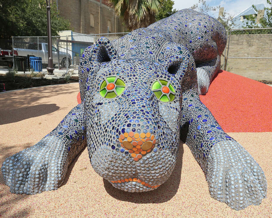 A view of Pantera Azul by artist Oscar Alvarado in the Yanaguana Garden at Hemisfair Friday Sept. 25, 2015. Opening weekend for the Yanaguana Garden is Oct. 2-4, 2015. Photo: Edward A. Ornelas, San Antonio Express-News / © 2015 San Antonio Express-News