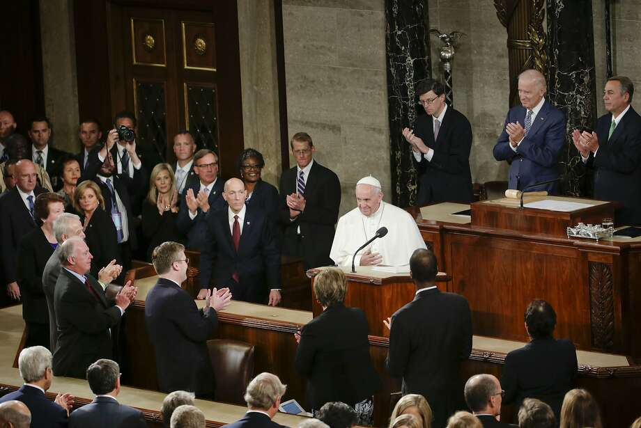 Pope Francis is applauded as he arrives on Capitol Hill in Washington, Thursday, Sept. 24, 2015, to address a joint meeting of Congress, making history as the first pontiff to do so. (AP Photo/Pablo Martinez Monsivais) Photo: Pablo Martinez Monsivais, Associated Press