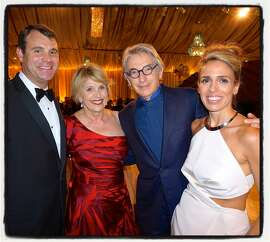 David Dolby (left) with his mom, gala co-chair Dagmar Dolby, SFS maestro Michael Tilson Thomas, and his wife, gala co-chair Natasha Dolby at the SFS 104th opening-night. Sept 2015.