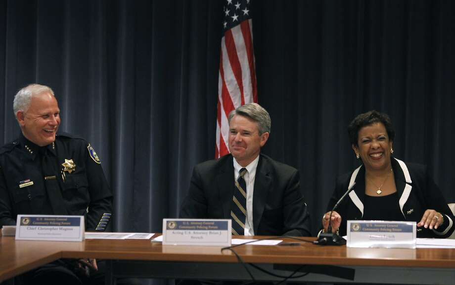 Richmond Police Chief Chris Magnus (left), acting U.S. Attorney for the Northern District of California Brian Stretch, and U.S. Attorney General Loretta Lynch lead a community policing forum in Richmond. Photo: Paul Chinn, The Chronicle