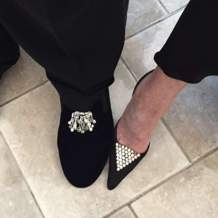 SF Symphony opening night feet of Fred Levin and Nancy Livingston, in coordinated rhinestones.
