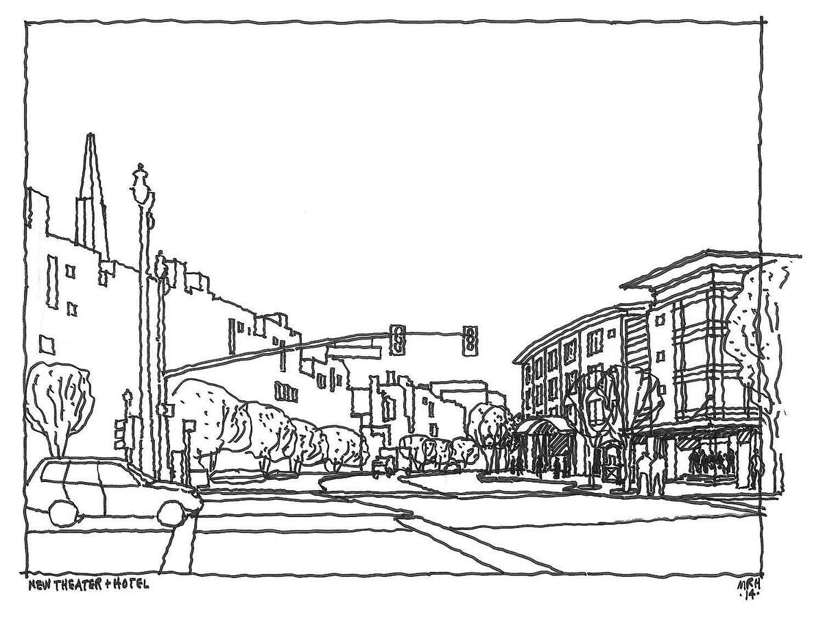 The building shown on the right in this sketch is a conceptual idea of the boutique hotel that might rise on the first block of Broadway at the Embarcadero as part of a project that would include a permanent home for Teatro ZinZanni.