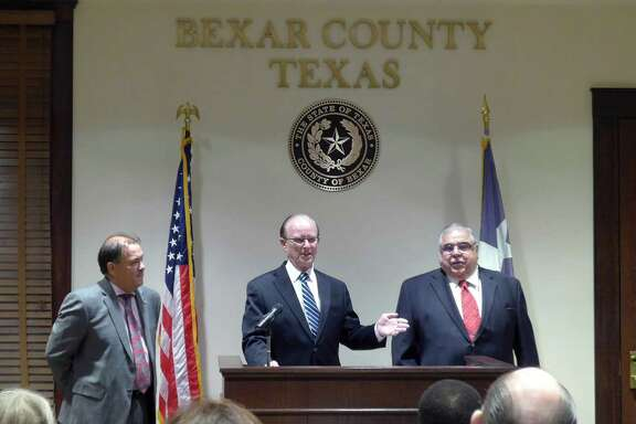 "Bexar County Commissioner Sergio ""Chico"" Rodriguez (left), County Judge Nelson Wolff and Commissioner Paul Elizondo, urged the public to participate in ""Senior Day at the Capitol."""