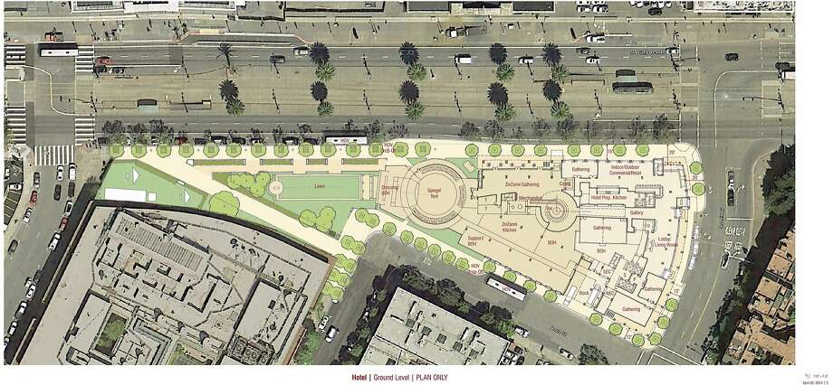 The current site plan for the proposed new home of Teatro ZinZanni plays the troupe's glass-enclosed circus tent between a four-story hotel entered from Broadway and and new neighborhood park along the Embarcadero (left). Photo: Hornberger+Worstell